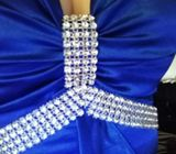 Beautiful electric blue satin diamante evening dress