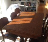1950`s Oak table and six solid oak chairs