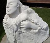 Large Sculpture by Bodhi Vincent, NZ. in Oamaru stone.  Hinemoana, goddess of the sea